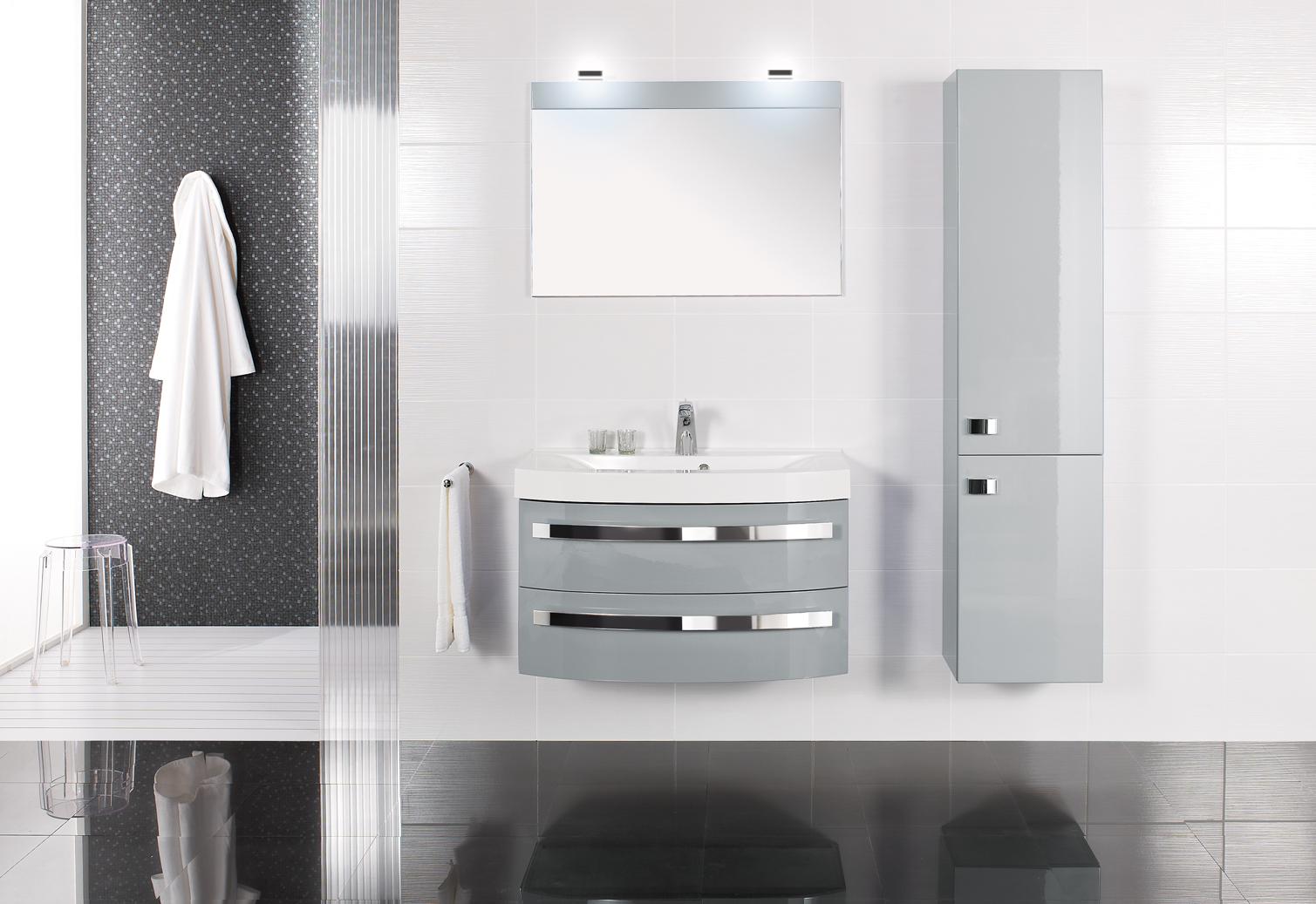 Meubles moins de 100 cm duc carrelages et bains - Meuble salle de bain gris clair ...