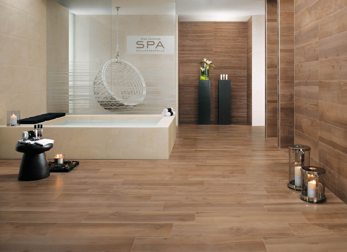 Carrelages int imitations parquets bois duc for Lino mural salle de bain