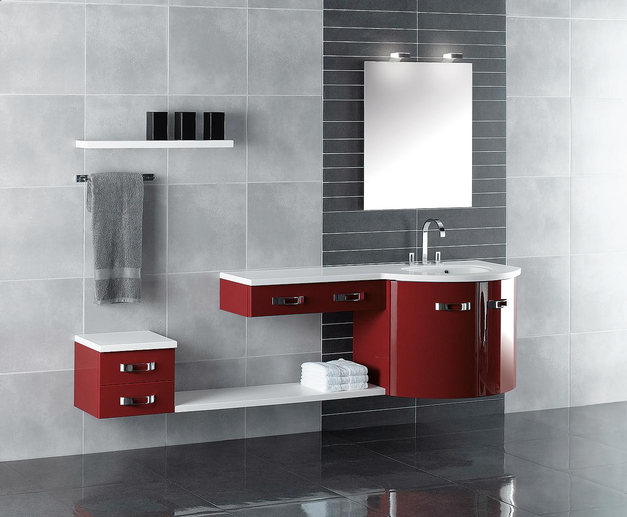 Salle De Bain Rouge Et Blanc meubles 1 vasque | duc carrelages et bains